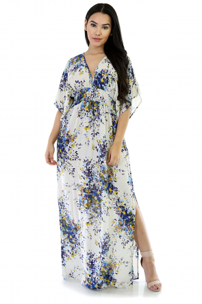 V-Neckline Sky Fit Long Dress