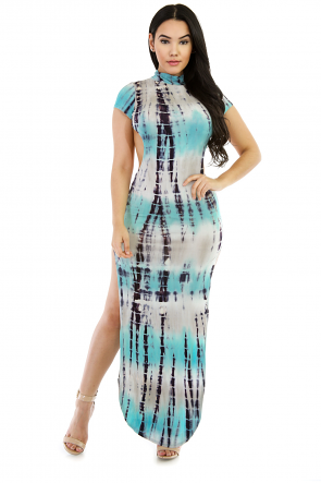 Tie Dye- Exposed Back Maxi Dress