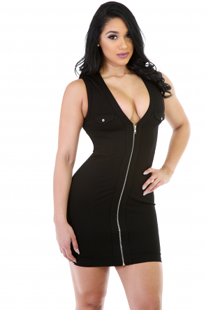 Zip Up Bust Mini Dress