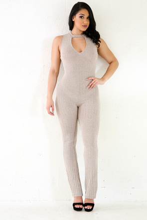 Ribbed Knit Marbles Skinny Jumpsuit