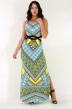 Open Back Long Multi Color Dress