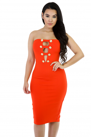 Stunning Bodycon Strapless Midi Dress