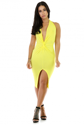 Midi  Stretchy Bodycon Halter Neck Dress