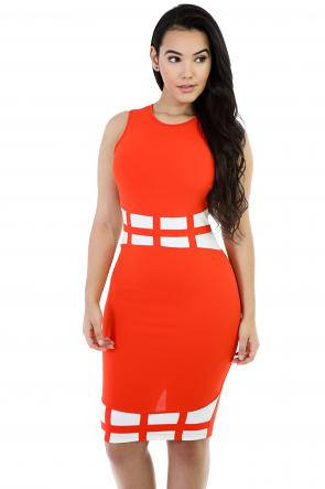 Pumpkin Bodycon Sleeveless Dress