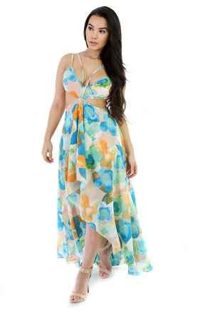Flare Low-High Floral Dress