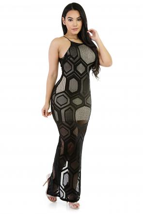 Mesh Long Maxi Sleeveless Dress
