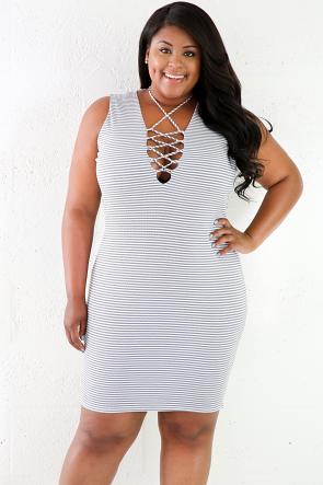 Striped Lace up Sleeveless Midi Dress