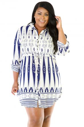 Tri-Print Non-Stretch Cool Dress