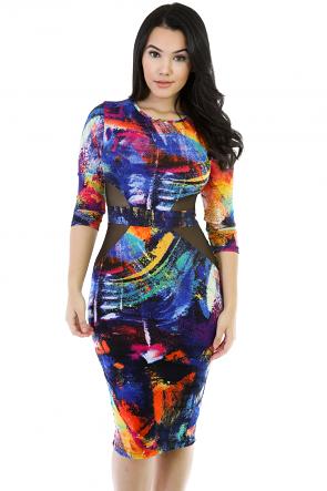 Be Pattern Bodycon Long  Sleeve Dress