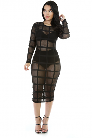 Mesh Net Midi Bodycon Dress