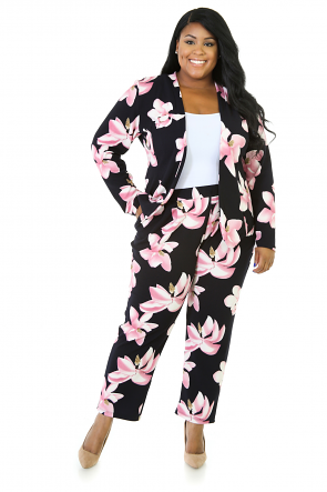 Foreseen Stretchy Pants Suit Set