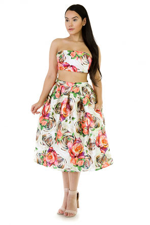 Two-Piece In Floral Skirt Set