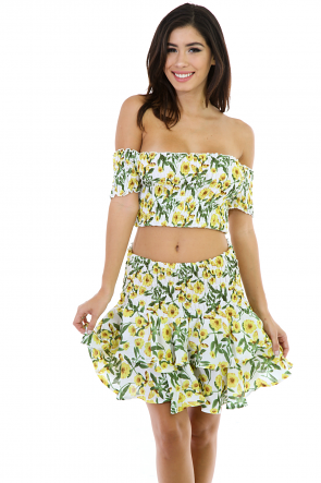 Quenched Tow-Piece Flare Skirt Set