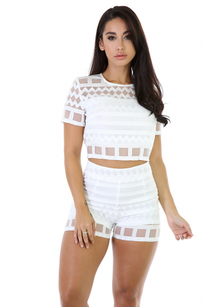 Knit Mesh Short Set