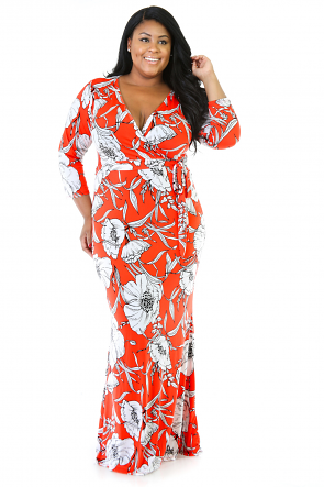 Orange Blossom Stretchy Maxi Dress