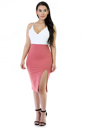 High Waisted Midi Stretchy Skirt