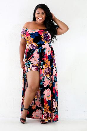 Boat Neckline Floral Mini Shorts Maxi Dress
