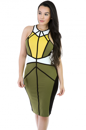 High Neckline Bodycon Midi Dress