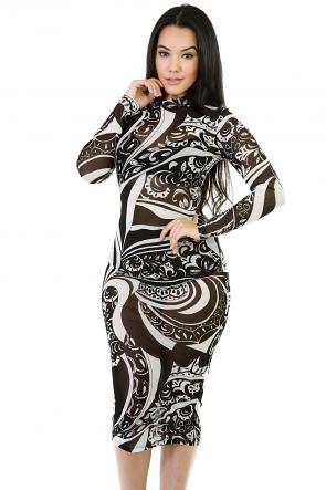 Mesh Long Sleeve Midi Dress