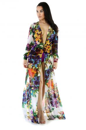 Floral Mesh See-Trough Maxi Dress