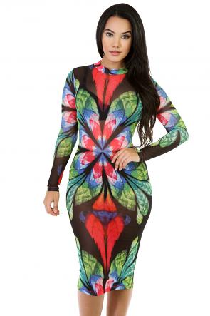 Long Sleeve Mesh Colorful Midi Dress