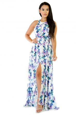 Pastel Blue Floral Maxi Dress