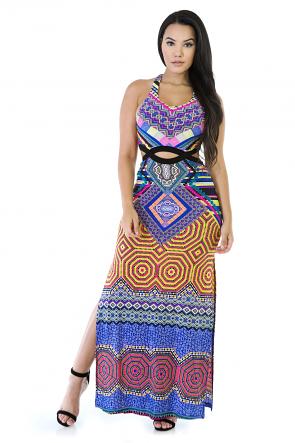 Multi Color Maxi Double Slide Dress