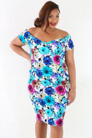 Daisy Midi Off Shoulder Dress