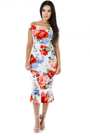 Multi Color Floral Midi Dress
