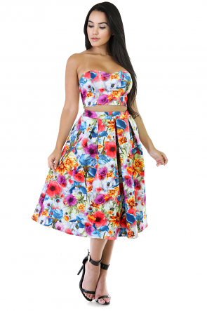 Shine On Floral Two-Piece Skirt Set