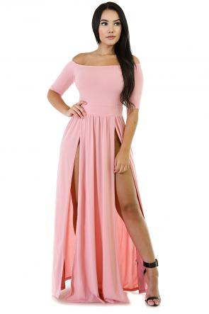 Short Sleeve Maxi Off Shoulder Dress