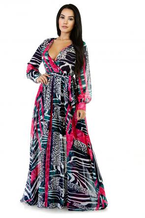 Sheer Long Sleeves Toned Maxi Dress
