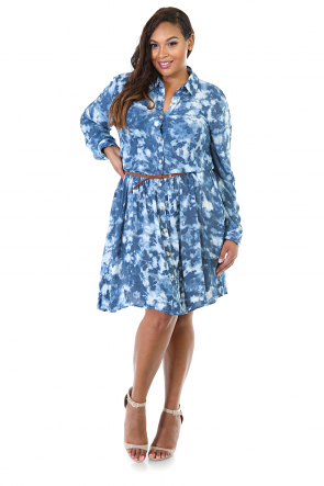 Denim Midi Flare Button Up Dress