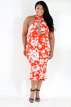 Orange Mermaid Midi Dress