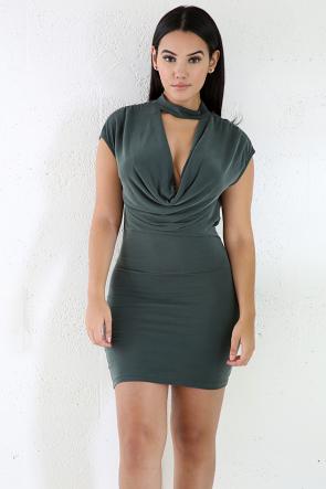 Mockin Neck Sleeveless Bodycon Dress