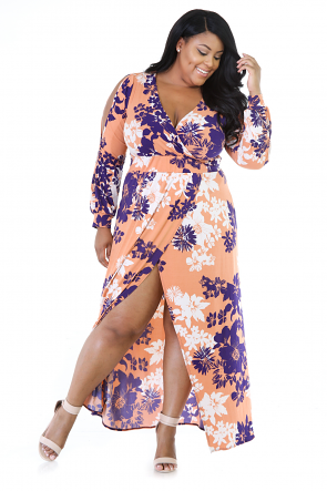 Peach Floral Maxi Smooth Dress