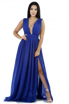 Deep V-Neckline Maxi Dress
