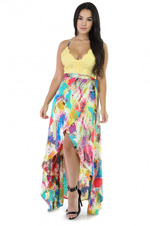 Tropical Multi Colored Maxi Dress