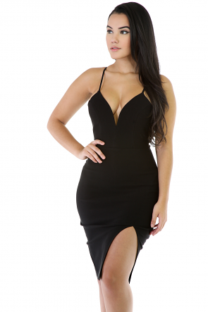 Stretchy Thin Strap Midi Dress