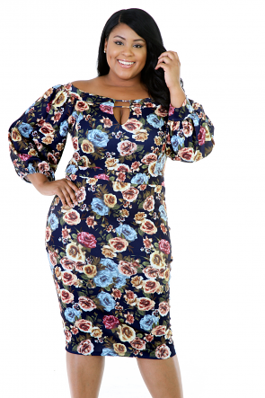 Floral Bee Midi Stretchy Dress