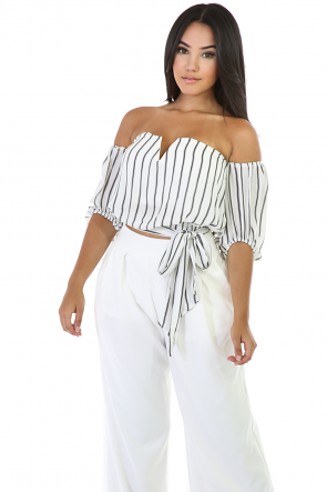Sweety Stripped Off-Shoulder Top