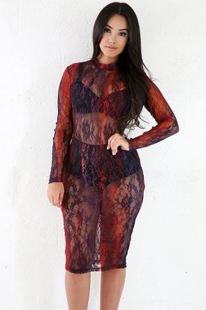 Violet Mesh Sheer Midi Dress