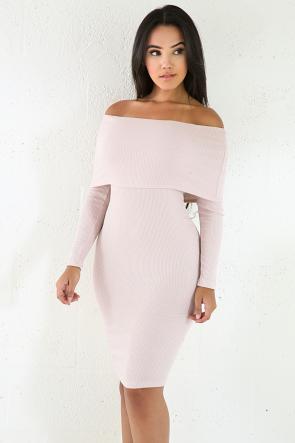 Mini Knit Jersey Off Shoulder Dress