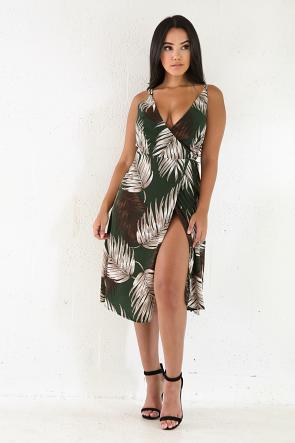 Florida Palm Midi Dress