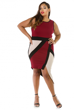 Sleeveless Asymmetrical Stretchy Midi Dress