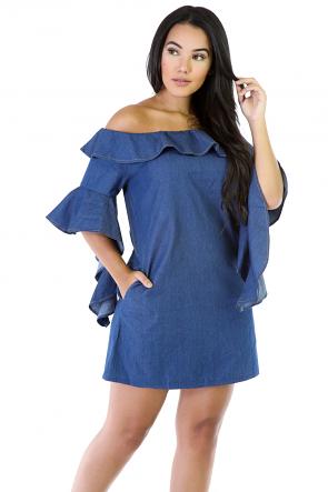 Denim Flare Short Sleeve Mini Dress