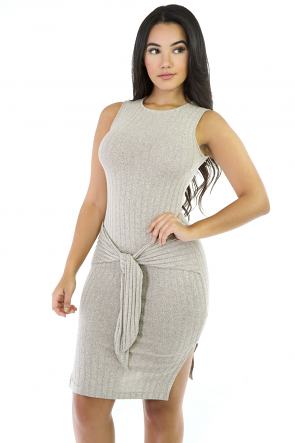 Marbled Knit Stretchy Mini Dress