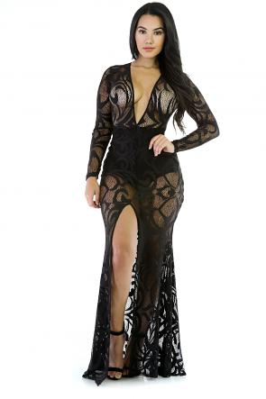 Sheer Mesh Maxi Mermaid Dress