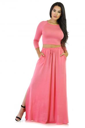 Maxi Skirt Two-Piece Cotton Set