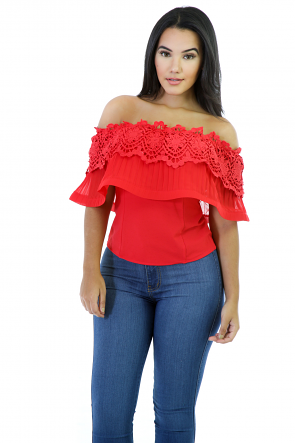 Off Shoulder Flower Top